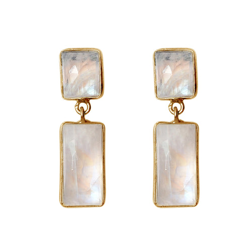 Bezeled Two Drop Dangle Earrings moonstone