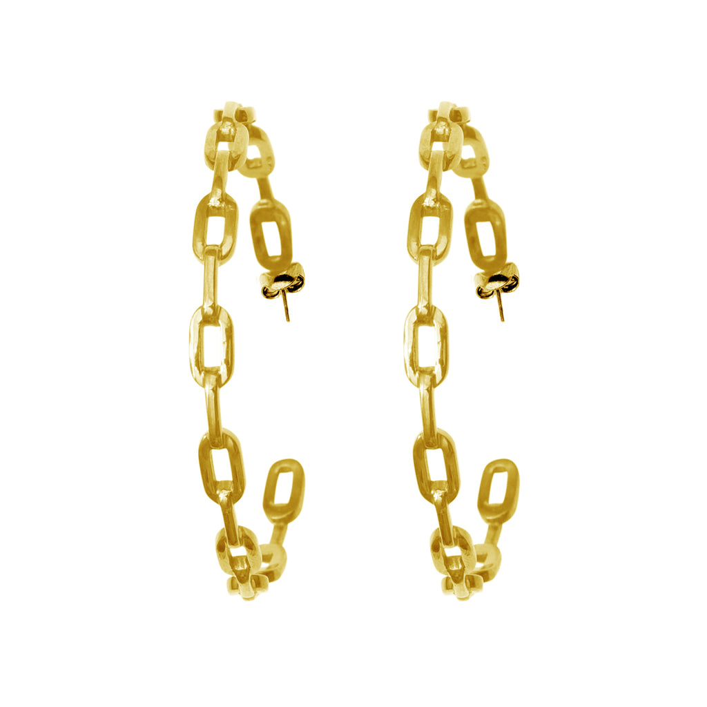 Chain Link Hoops silver gold