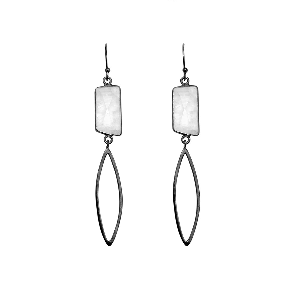 Marquis and Jagged Cut Moonstone Drop Earrings