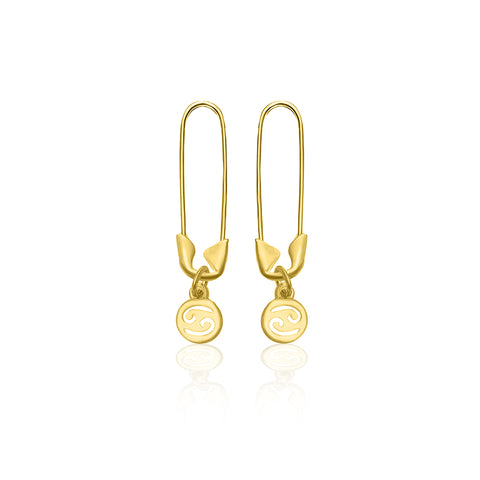 Safety Pin Zodiac Dangle Earrings