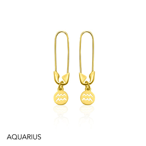 Safety Pin Zodiac Dangle Earrings silver gold