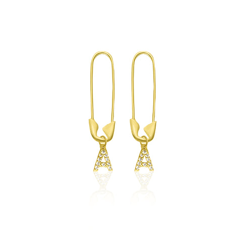 Safety Pin Initial Dangle Earrings silver gold