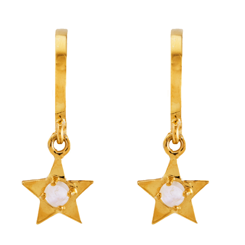 Star Dangle Huggie Hoops with Moonstone Centerpiece silver gold