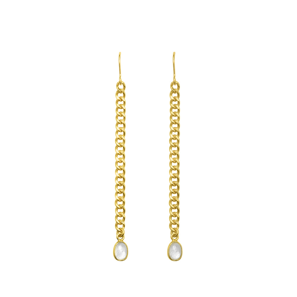Curb Chain Drop Earrings with Faceted Moonstone