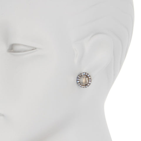 Floral Halo Stud Earrings clear quartz moonstone silver