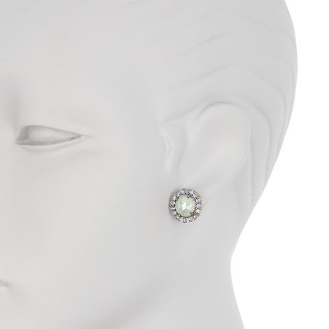 Floral Halo Stud Earrings green agate moonstone silver