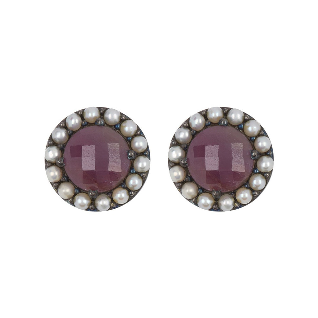 Floral Halo Stud Earrings clear ruby freshwater pearl silver