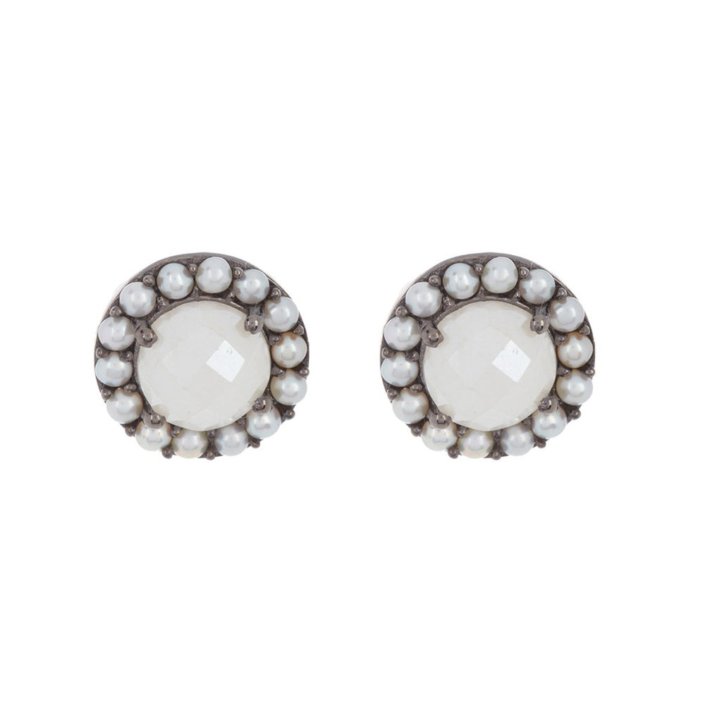 Floral Halo Stud Earrings white agate freshwater pearl silver