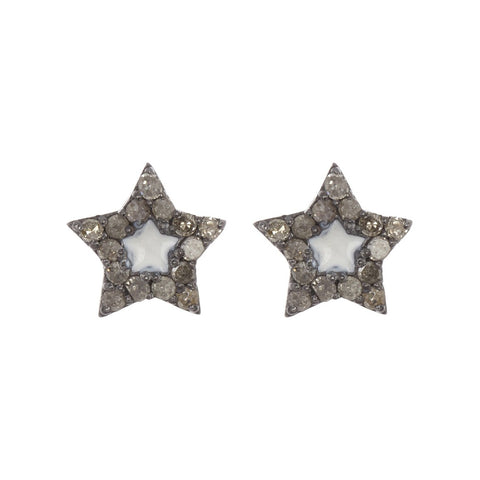 Star White Enamel Pave Diamond Studs silver