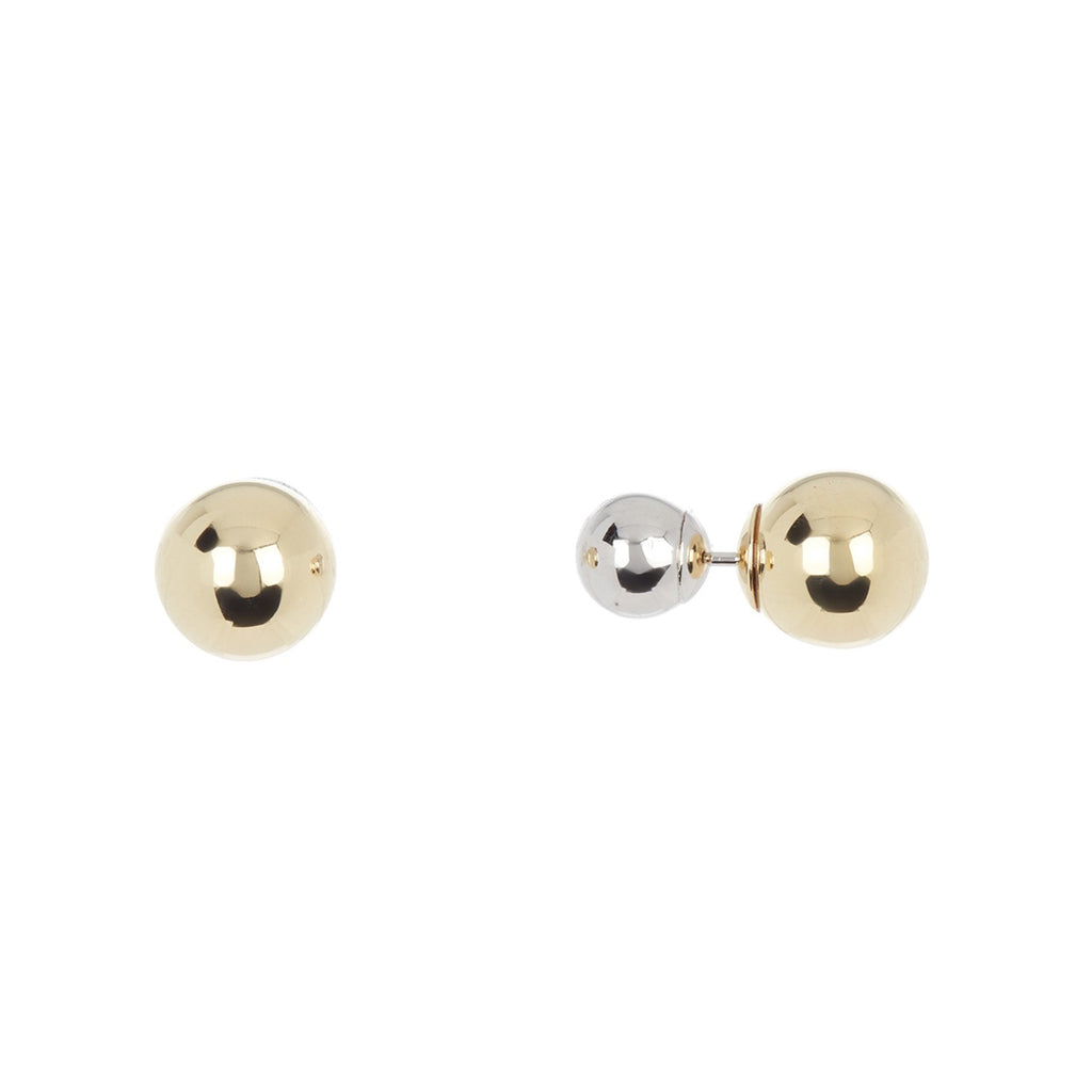 Double Sided Ball Earrings silver gold