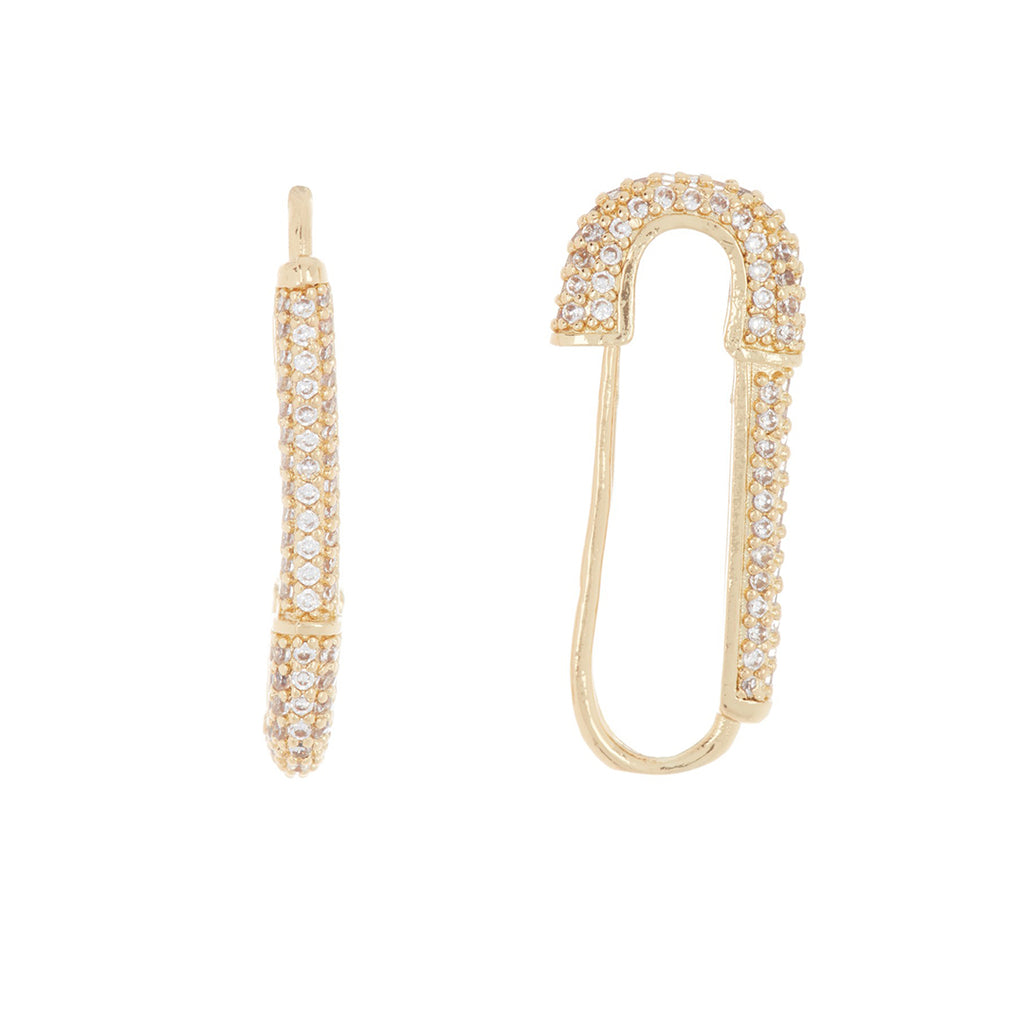 Pave Safety Pin Earrings silver gold