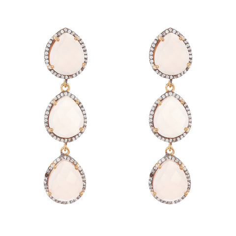 Three Drop Halo Pear Shaped Earrings light pink chalcedony