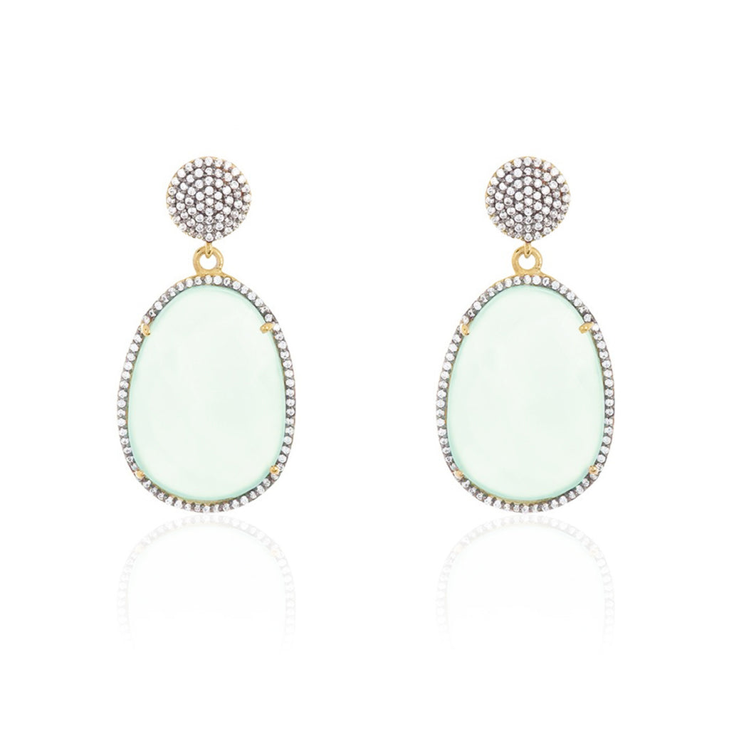 Organic Cut Faceted Halo Drop Earrings aqua chalcedony silver