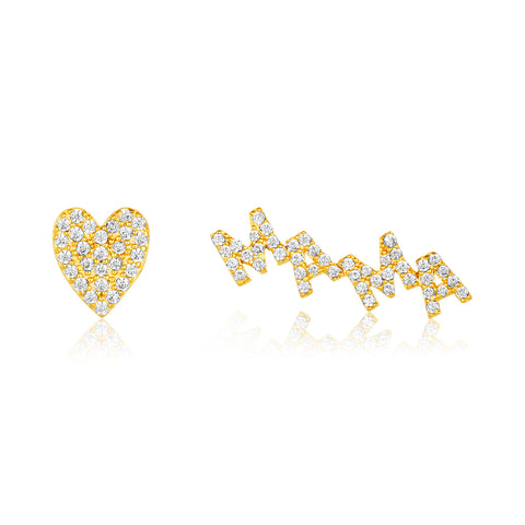 Mama Heart Earring Stud Set gold