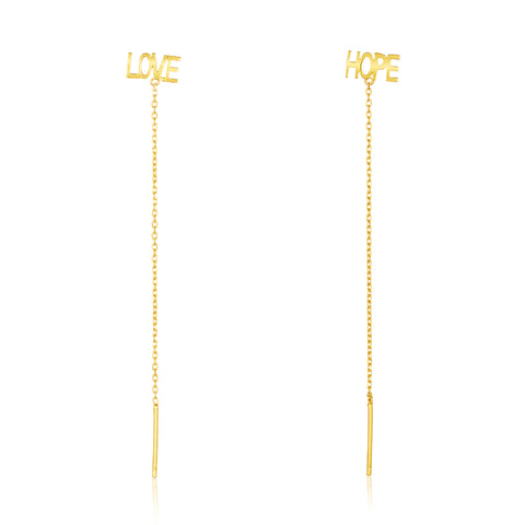 Love Hope Threader Earring Pair gold