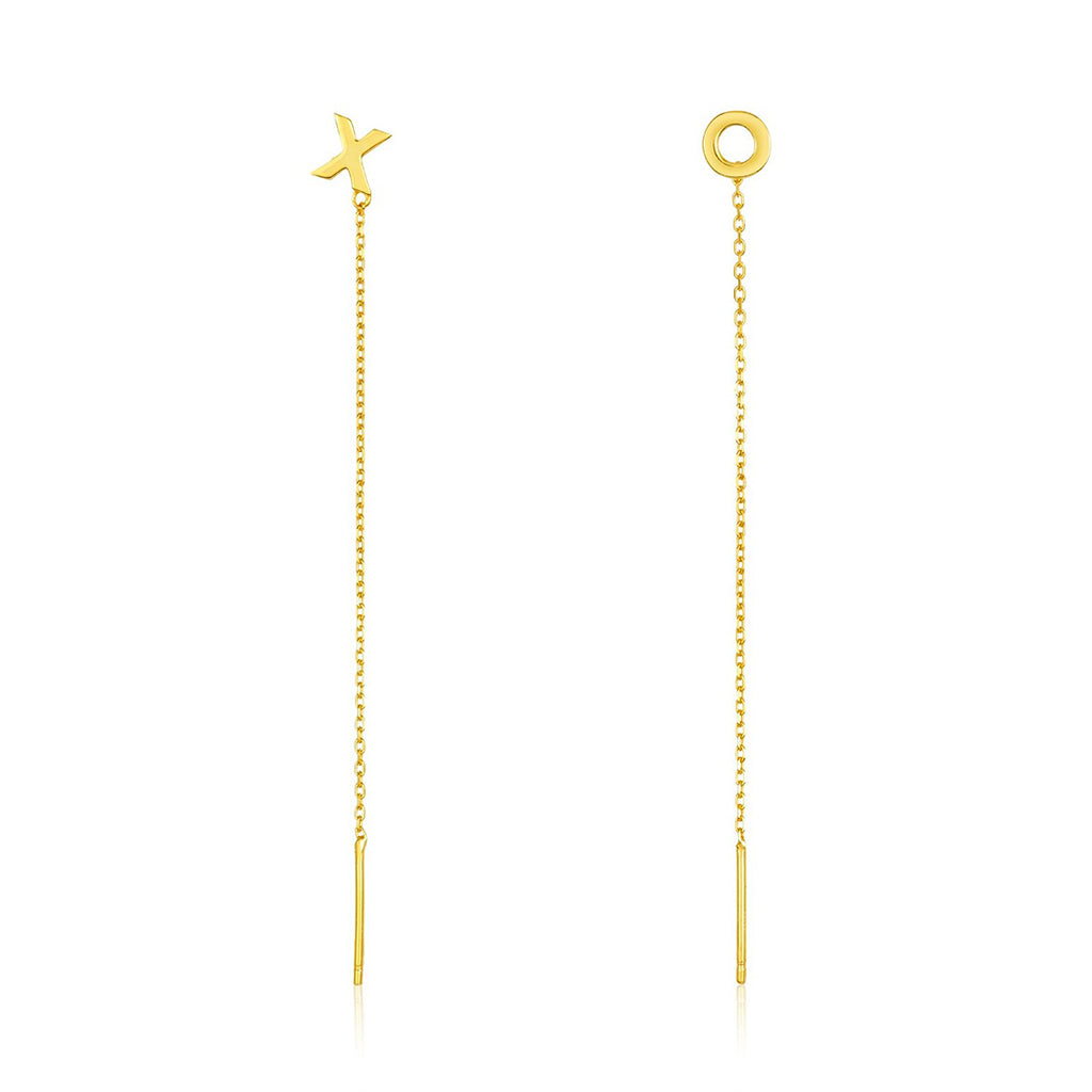 X and O Threader Earring Pair gold