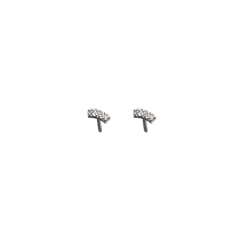 Trio Diamond Earring Studs silver