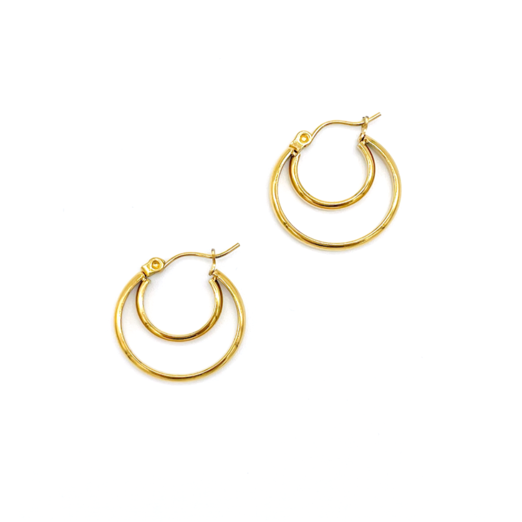 Crescent Midi Hoops silver gold