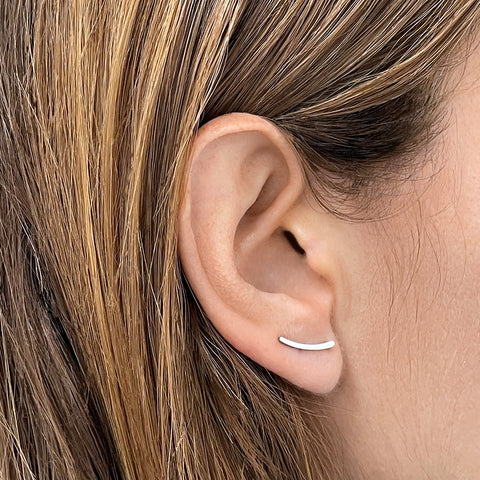 Curved Climber Earrings silver gold
