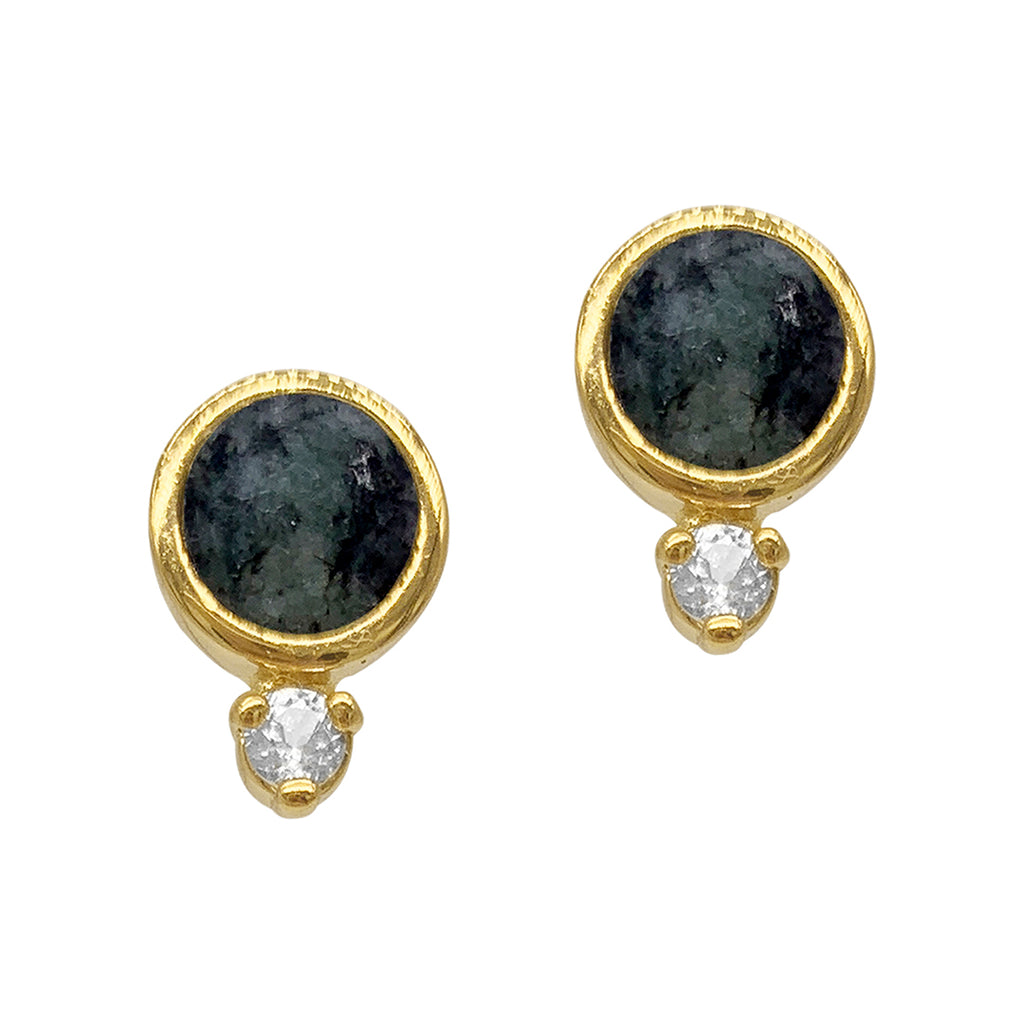 Emerald and Topaz Stud Earrings gold