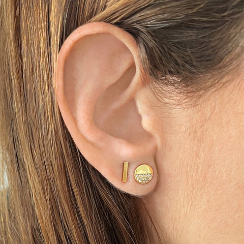 Half Disc Stud Earrings gold