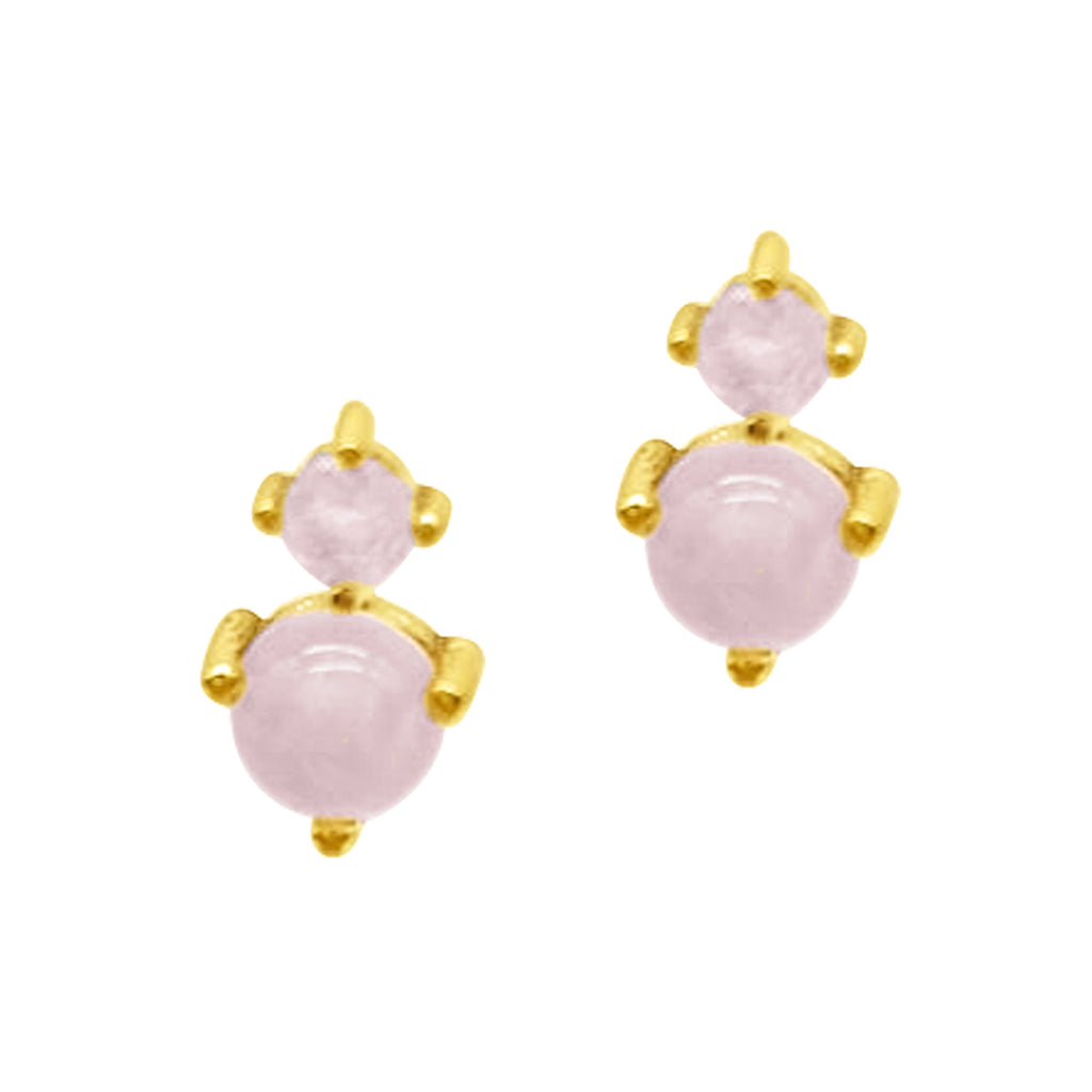 Two Stone Earrings Rose Quartz-Moonstone gold