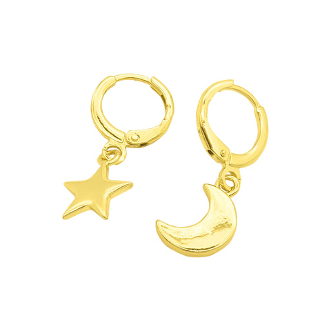 Moon and Star Dangle Huggies gold