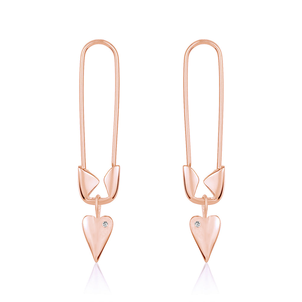 Safety Pin Heart Diamond Dangle Earrings silver gold rose gold