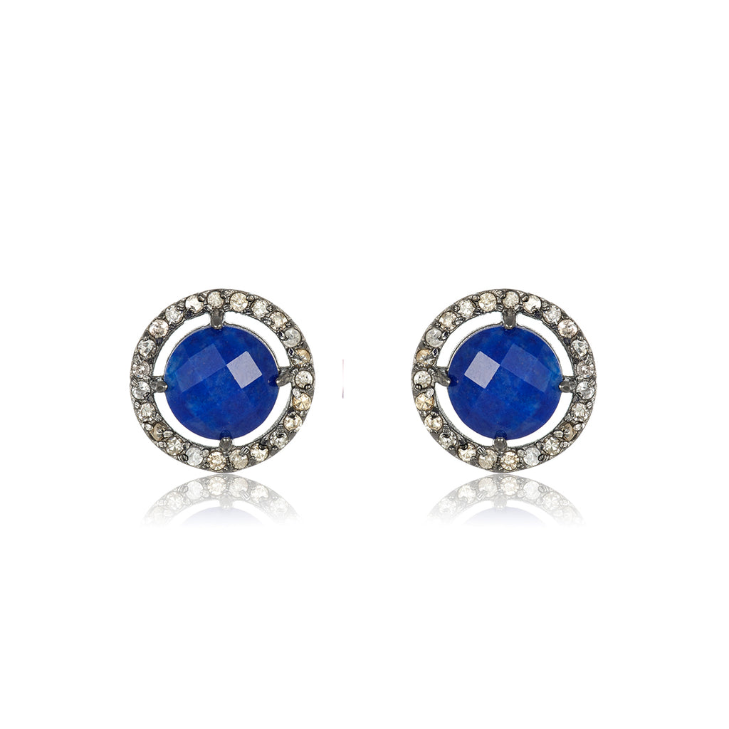 Mini Echo Blue Lapis Diamond Halo Studs sapphire silver