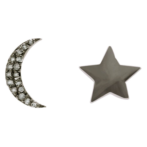 Aurora Moon and Star Studs silver diamond
