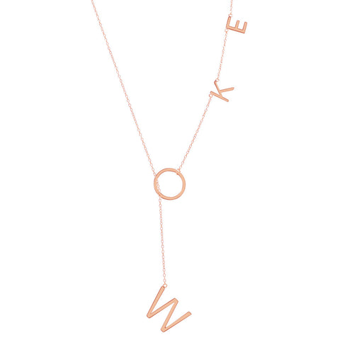 Woke Lariat Necklace silver gold rose gold