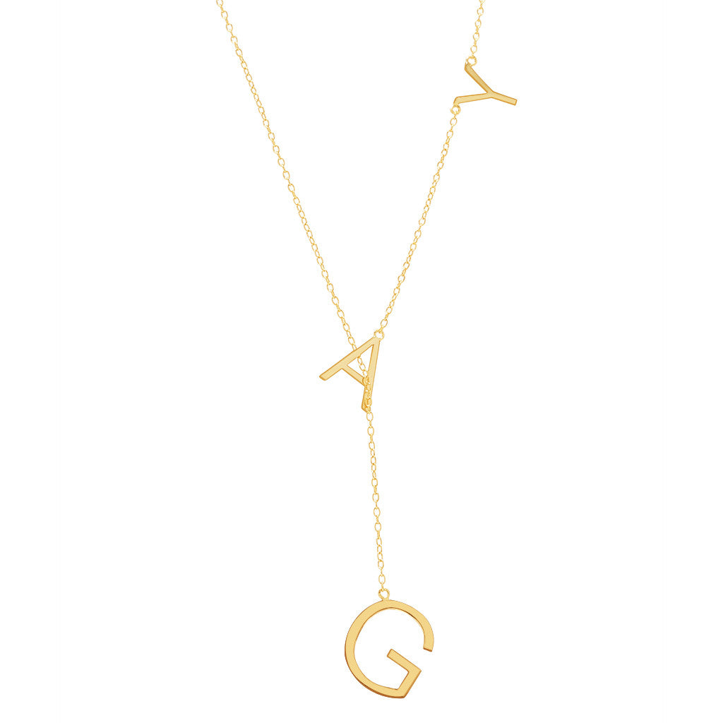 Gay Lariat Necklace silver gold rose gold