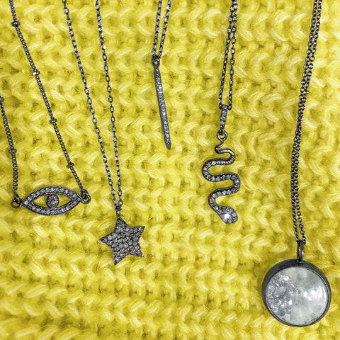 Evil Eye Diamond Choker Necklace diamond silver