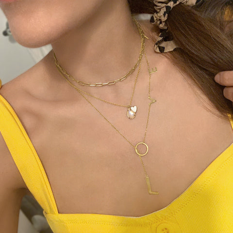 Love Lariat Necklace silver gold rose gold