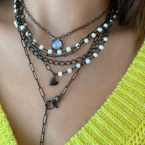Patchwork Pearl Messy Mixed Chain Heart Necklace silver