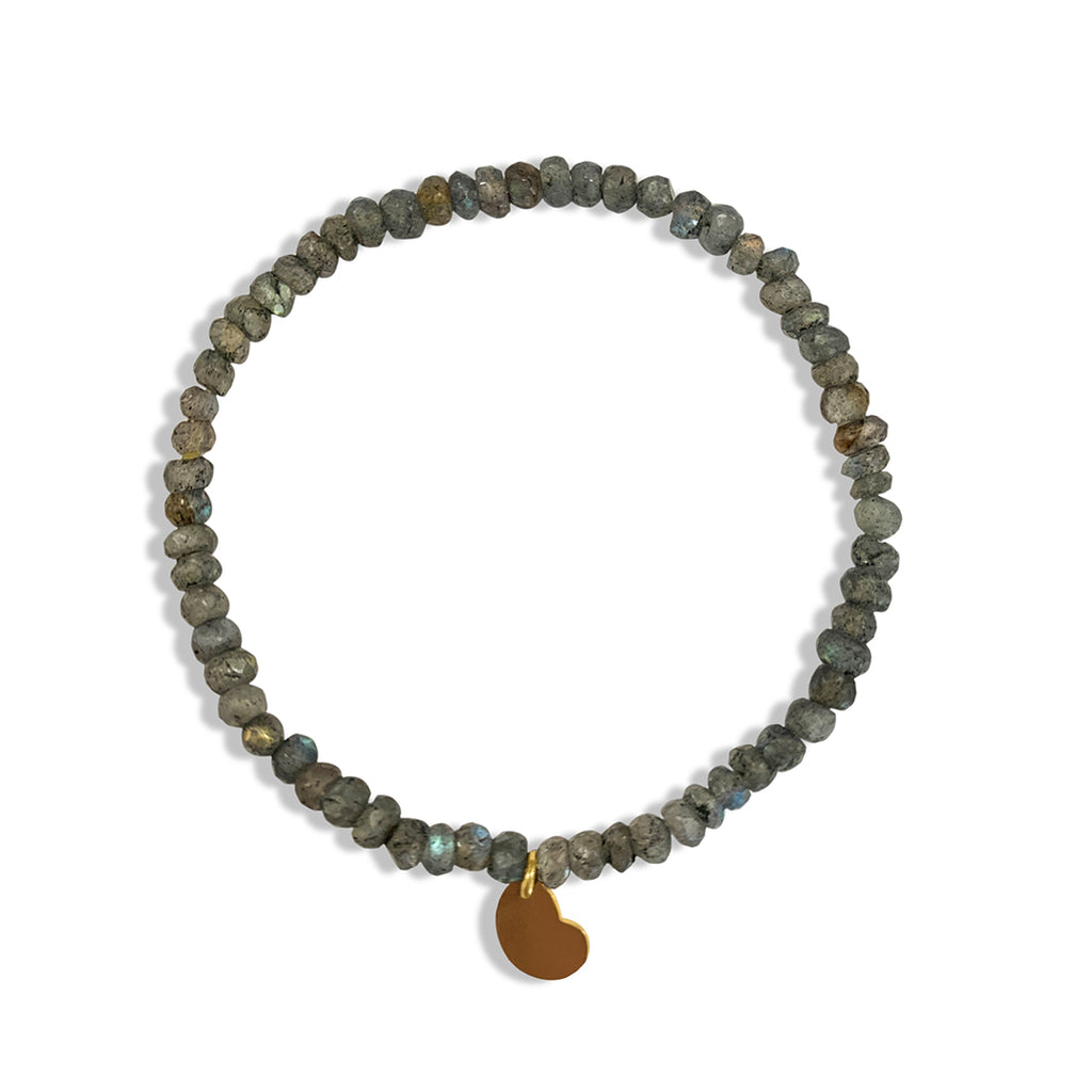Labradorite Beaded Stretch Bracelet with Heart Charm