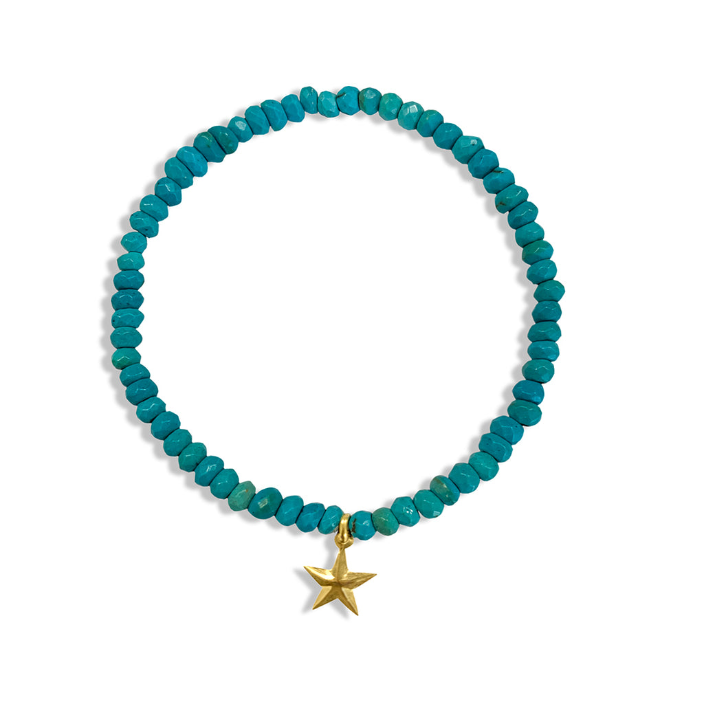 Turquoise Beaded Stretch Bracelet with Star Charm
