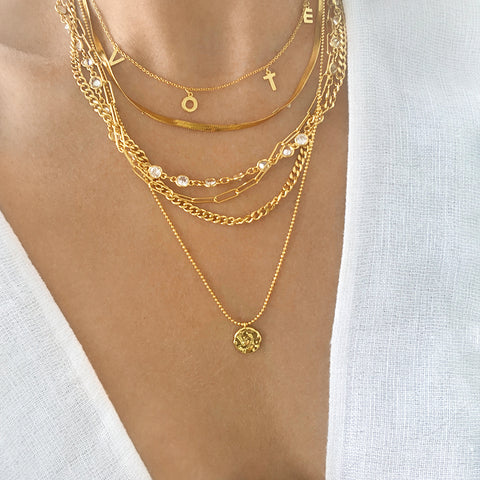 Messy Layered Necklace with Coin Charm silver gold