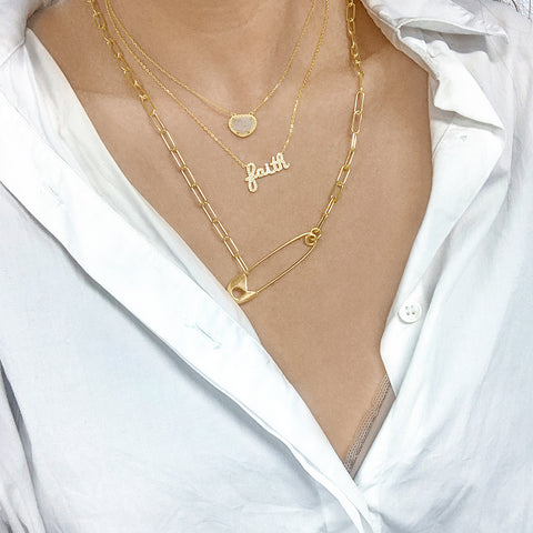 Safety Pin Paper Clip Chain Necklace gold