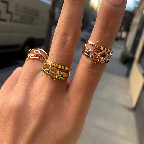 Love Stack Diamond Ring Stacking Set silver yellow gold rose gold