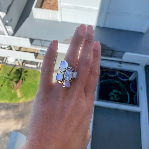 Oval Cut Prong Set Ring moonstone