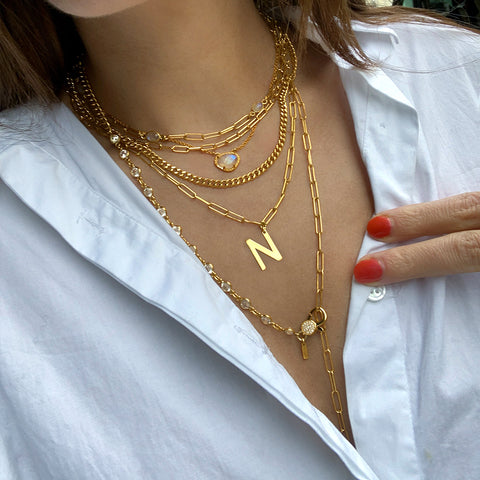 Messy Initial Necklace Set moonstone silver gold
