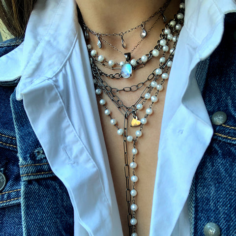 Messy Layered Y Necklace with Freshwater Pearl