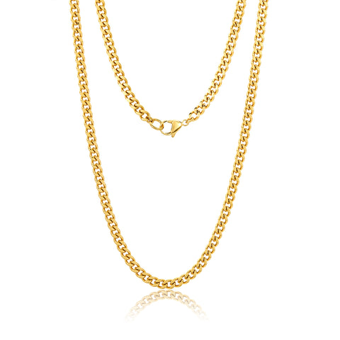 "24"" 5mm Cuban Boyfriend Chain silver gold"