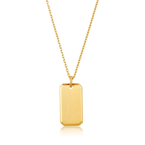 "24"" Dog Tag Boyfriend Necklace gold"