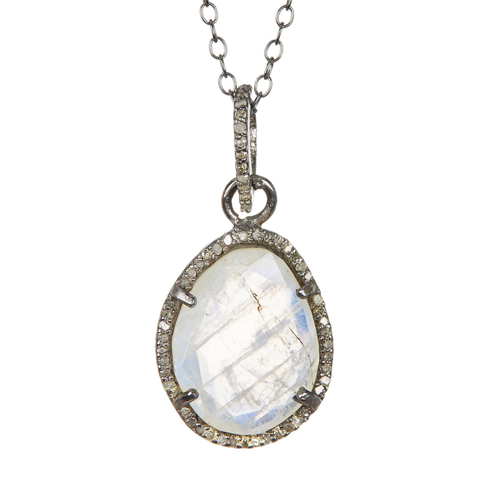 Beckett Moonstone Slice Diamond Halo Necklace silver