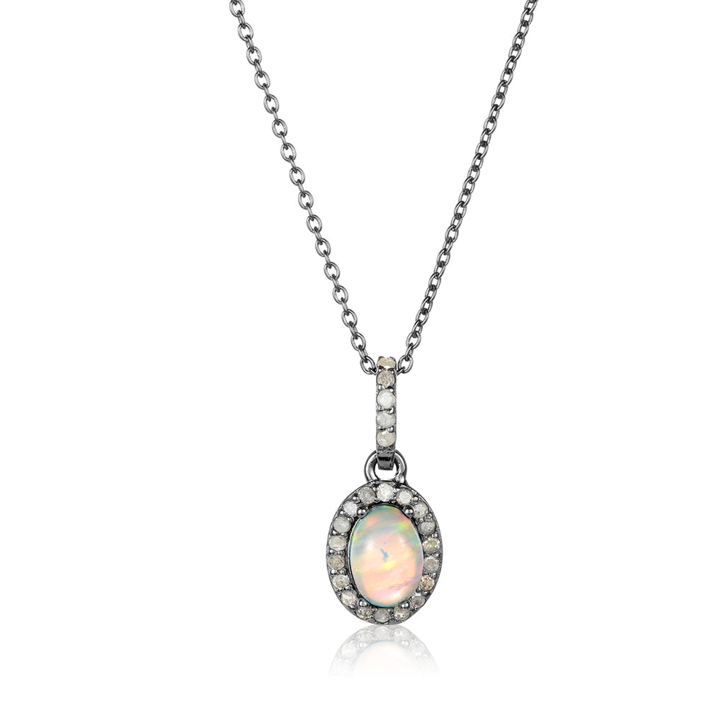 Milly Opal Diamond Halo Necklace opal silver
