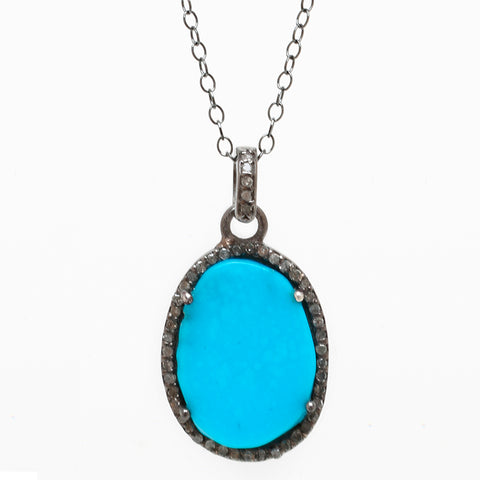 Turquoise Slice Diamond Halo Necklace silver