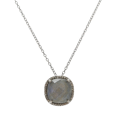 Lara Cushion Halo Diamond Necklace labradorite diamond silver