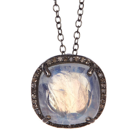 Lara Cushion Halo Diamond Necklace moonstone diamond silver